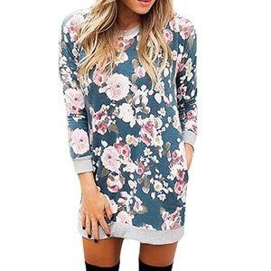 Boho Floral Print Sweater Dress